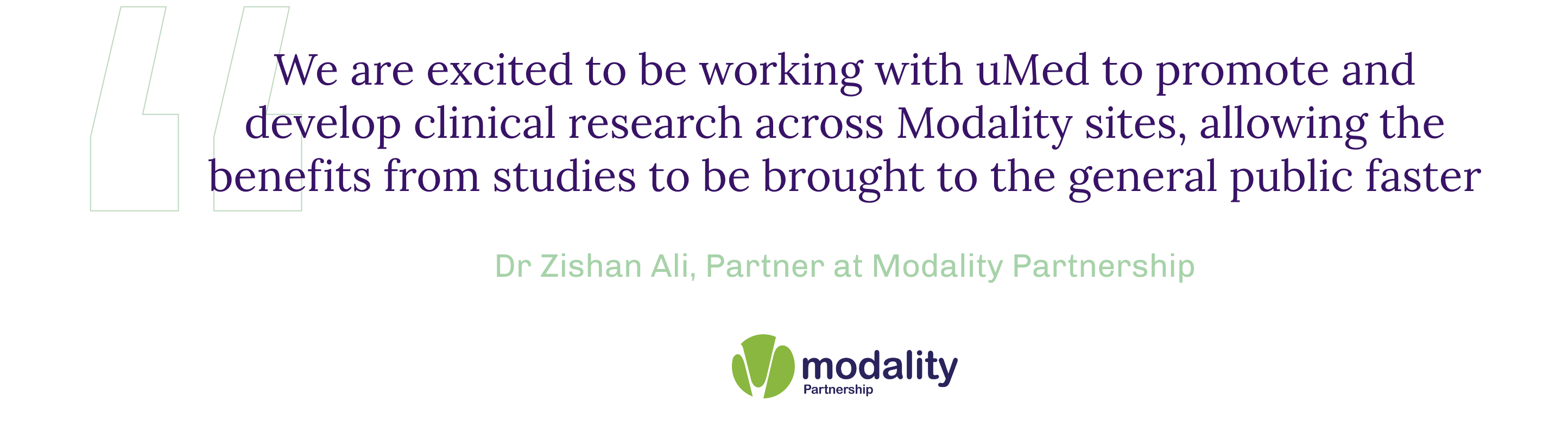 Dr Zishan Ali - Modality Quote